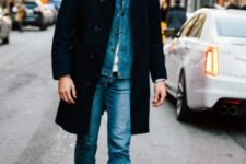 With denim jacket, coat and crop jeans