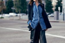 With denim shirt, black cardigan and cutout boots