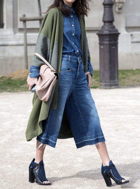 With denim shirt, green coat, cutout boots and beige bag