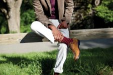 stylish look with brown shoes