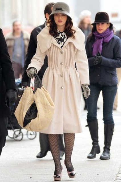 With dress, beige coat, high heels and big two color bag