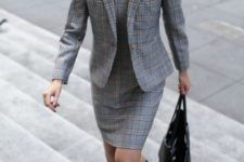 With glen plaid dress, black pumps and tote