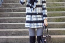 stylish b&w look with a scarf