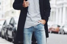 With gray shirt, navy blue coat, skinny jeans and white shoes