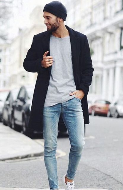 Picture Of With gray shirt, navy blue coat, skinny jeans ...