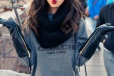 With gray sweatshirt, skirt and scarf
