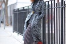 With gray turtleneck, pleated maxi skirt and leopard printed coat