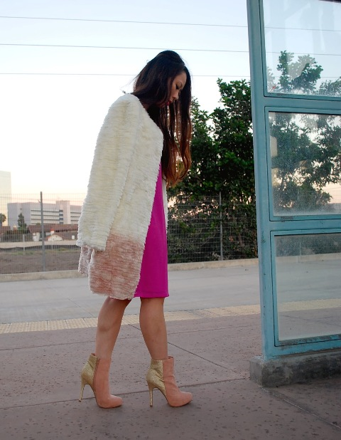 With hot pink knee length dress and pale pink and golden ankle boots