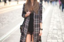 With lace mini dress, flat ankle boots and mini bag