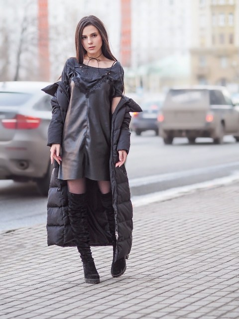 With leather mini dress, dark gray shirt and high boots