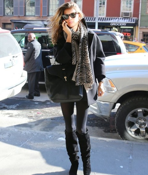 With leggings, black coat, animal print scarf and black bag