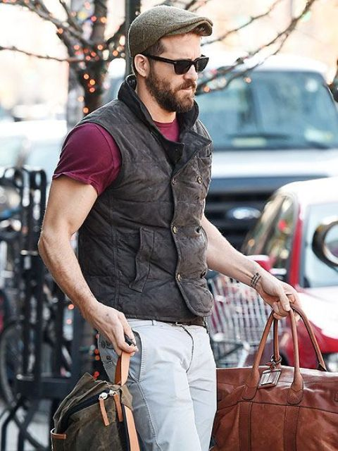 With marsala t shirt, puffer vest, white pants and big bag
