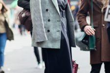 With maxi dress, marsala pumps and bag