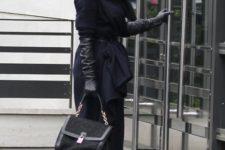 With midi dress, navy blue coat, black pumps and black bag