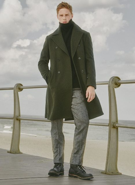 Picture Of With Olive Green Coat Gray Pants And Boots