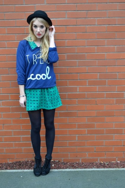 With polka dot dress, blue shirt and shoes