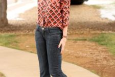 With printed blouse, flare jeans and brown boots