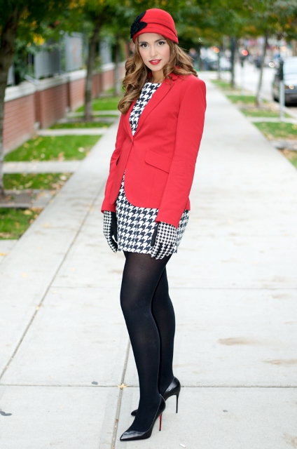 With printed mini dress, black tights, pumps and red jacket