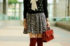 With printed mini dress, printed sweater, leather bag, marsala knee high socks and gray ankle boots
