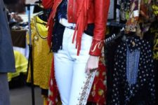 With red jacket, waist bag and white sneakers