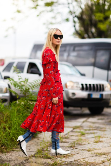 With red printed dress and jeans