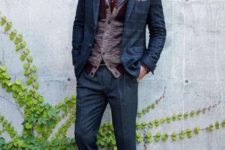 With shirt, vest, printed jacket, cuffed trousers and black boots