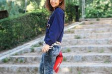 With sporty jacket and white sneakers