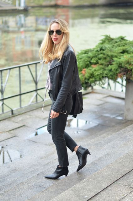 982e58ffce With striped shirt, black leather jacket and crop pants