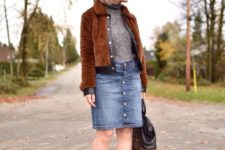 With turtleneck, denim skirt, ankle boots and two color bag