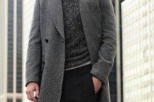With tweed coat, black pants and vest