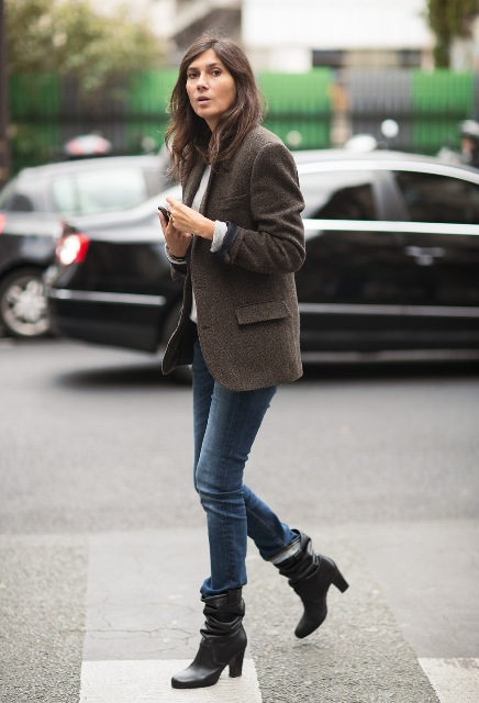 With tweed jacket, white shirt and jeans