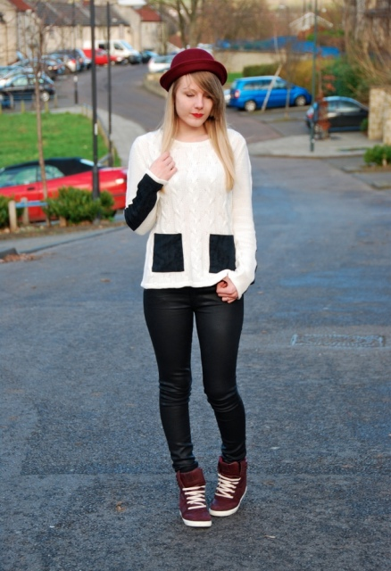 With white and black sweater, skinny pants and marsala sneakers