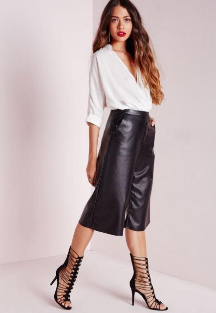 With white blouse and lace up shoes