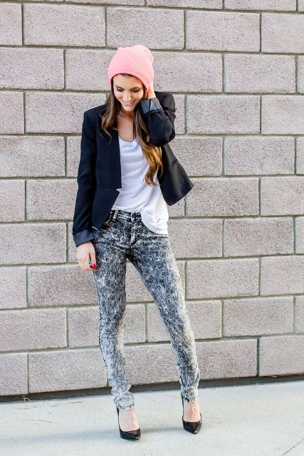 With white t-shirt, black jacket, black pumps and pink hat