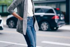 With white t-shirt, crop jeans and suede boots