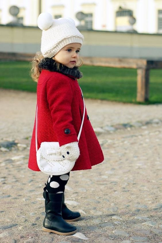 a bold red coat is classics, perfect for winter and will raise up the mood of your girl