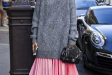 02 a long grey chunky knit sweater, a pink pleated skirt, a blush velvet pair of shoes