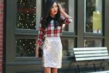 02 a plaid shirt, a silver sequin skirt, a bow and emerald shoes