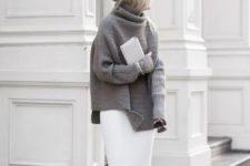 winter midi skirt look