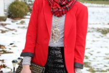 03 a black sequin mini, black tights, a striped top, a red jacket and a plaid scarf
