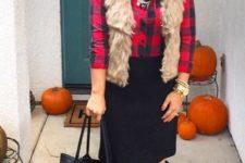 03 a plaid shirt, a faux fur vest, a black knee skirt, black suede boots