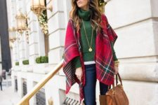 03 a white tee, an emerald turtleneck sweater, jeans, a plaid pashmina and brown suede knee boots