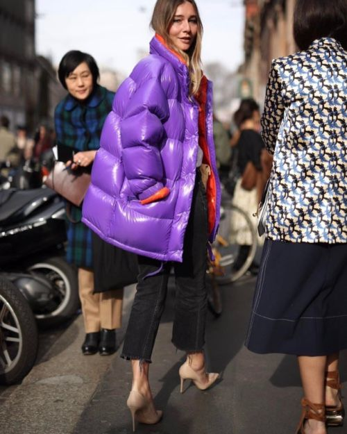 a bold purple oversized purple puffer jacket to catch everybody's eye
