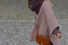 04 a dusty pink coat and a chocolate brown scarf make up a cool combo