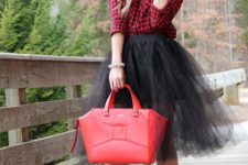 04 a plaid shirt, a black tulle skirt, black shoes and a red bag