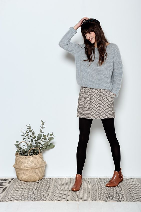 e757c542402 Picture Of A Printed Mini Skirt An Oversized Grey Sweater Black. Black Bp  At Nordstrom Dress Brown Restricted Boots Forever 21 Tights