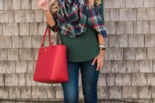 04 an emerald shirt, a plaid scarf, skinnies and brown booties