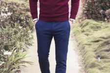 04 navy pants, a burgundy sweater, a white shirt, brown shoes