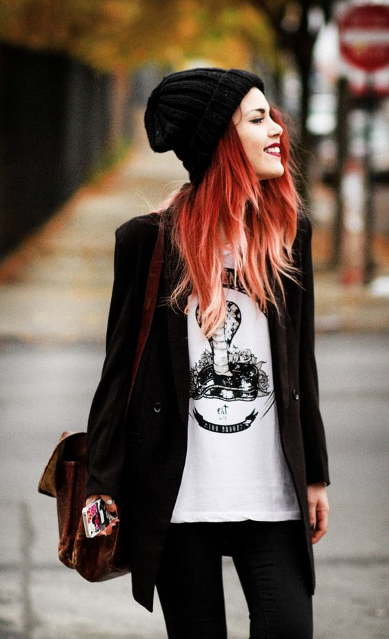 show off your fiery red hair with a neutral beanie or a beanie of a basic color