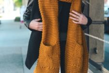 04 why not try a bold mustard scarf with pockets and tassels to stand out